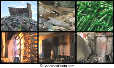pet bottle recycling - collage montage of video clips...