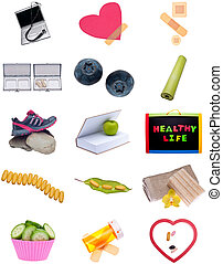 collage, montaje, vida, sano
