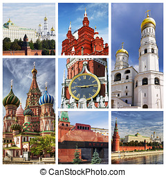 Collage Moscow Kremlin - collage composed of images of...