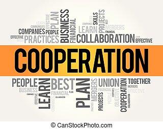 collage, mot, coopération, nuage