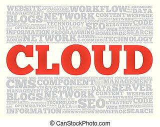 collage, mot, nuage