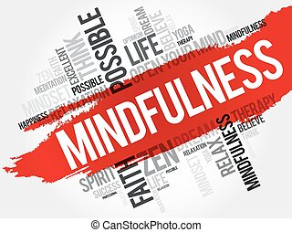 collage, mot, nuage, mindfulness