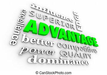 collage, mots, avantage, bord compétitif, illustration, ...