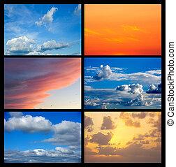 collage, muchos, imágenes, cielo