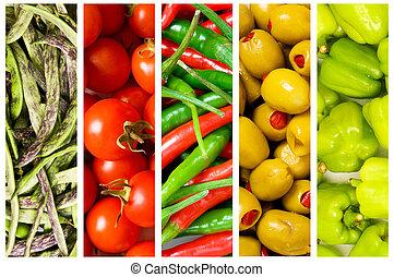 collage, muchos, vegetabl, fruits