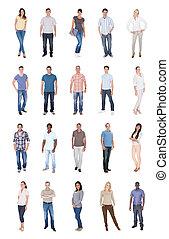 collage, multiethnic, casuals, leute