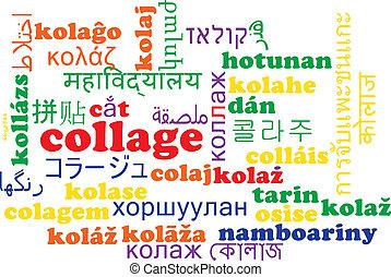 Collage multilanguage wordcloud background concept