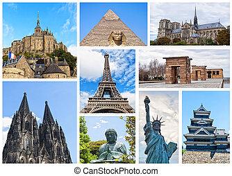 collage, mundo, monumentos