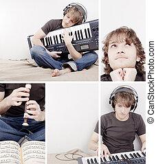 collage, musikalisches, mann