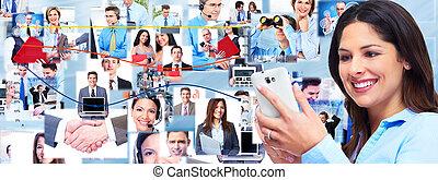 collage., nő, smartphone., ügy