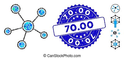 Collage Network Links Icon with Distress 70.00 Stamp