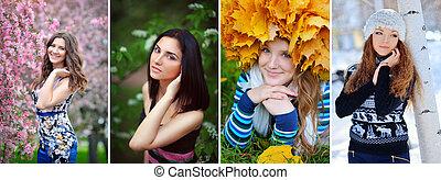 collage, niñas, estaciones
