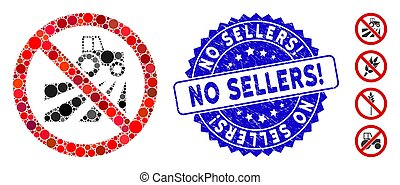 Collage No Agriculture Field Icon with Grunge No Sellers! Stamp