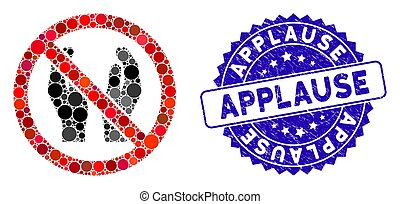 Collage No Applause Icon with Scratched Applause Stamp