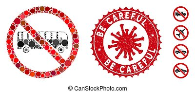 Mosaic no bus icon and red round grunge stamp seal with Be Careful text and coronavirus symbol. Mosaic vector is designed with no bus pictogram and with random round items.