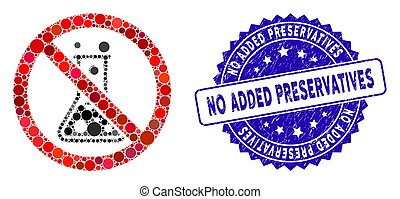 Collage No Chemical Reaction Icon with Scratched No Added Preservatives Seal