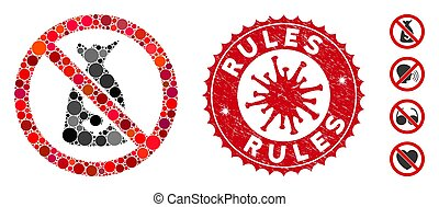 Collage No Funds Icon with Coronavirus Scratched Rules Stamp