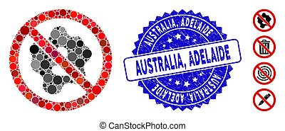 Collage No Microbe Icon with Textured Australia, Adelaide Stamp