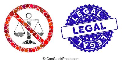 Collage No Scales Icon with Scratched Legal Stamp