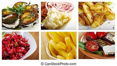 collage, noodle, sæt, forskellige, mad