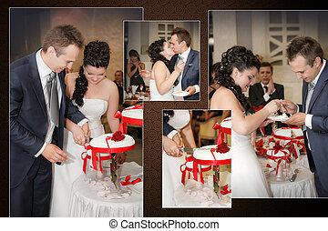 collage, -, novia y novio, corte, el, torta de la boda