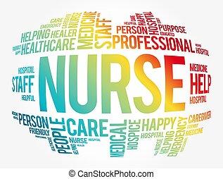 collage, nuage, mot, infirmière