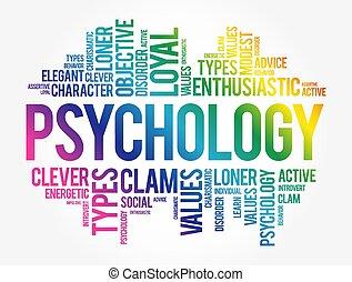 collage, nuage, mot, psychologie