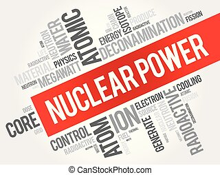 collage, nucleare, parola, potere, nuvola