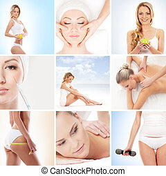 collage, nutrición, deporte, salud, balneario