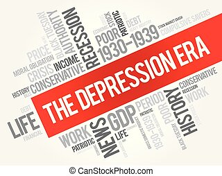 collage, nuvola, parola, era, depressione