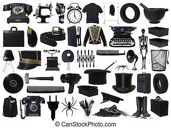 collage, objekt, svart