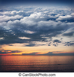 Collage: ocean, sunset, sky, clouds, stratosphere and space...