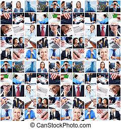 collage, od, handlowy, ludzie.