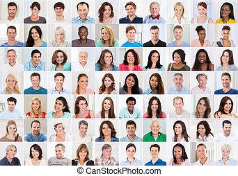 collage, od, uśmiechnięte ludzie