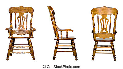 Collage of 3 antique wooden chair views (isolated)