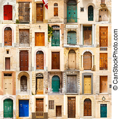 collage of 35 colourful colored front doors
