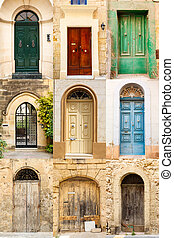 collage of 9 colourful colored front doors