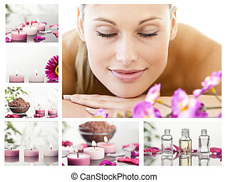 Collage of a beautiful blond woman relaxing in a spa centre