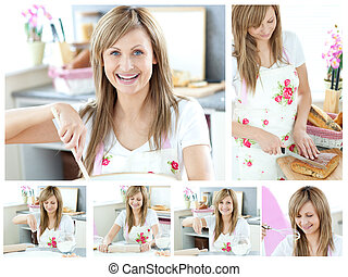 Collage of a beautiful woman cooking at home