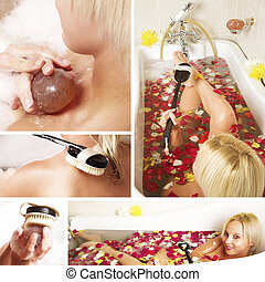 collage of a beautiful woman in a bath.
