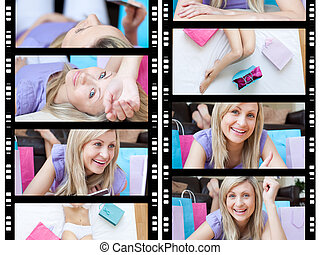 Collage of a blond-haired woman