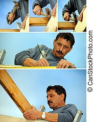 Collage of a builder