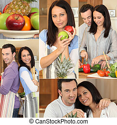 Collage of a couple in their kitchen