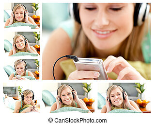 Collage of a cute woman listening to music