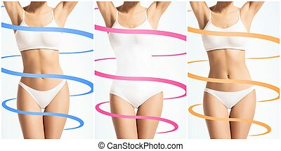 Collage of a female body in white underwear. Health, sport, fitness, nutrition, weight loss, diet, cellulite removal, liposuction, health concept.