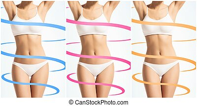 Collage of a female body with arrows. Fat lose, health, sport, fitness, nutrition, liposuction, healthy life-style concept.