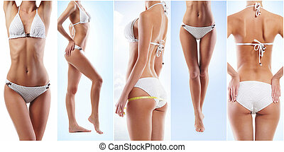 Collage of a fit female body in underwear. Health, sport, fitness, nutrition, weight loss, diet, cellulite removal, liposuction, healthy life-style concept.