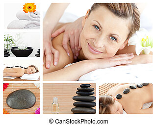 Collage of a good looking blond woman relaxing in a spa ...