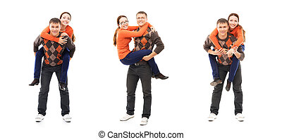 Collage of a happy couple posing isolated on white