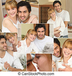 Collage of a loving couple